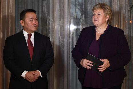 President Battulga Khaltmaagiin og Statsminister Erna Solberg